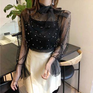 Beaded black sheer top