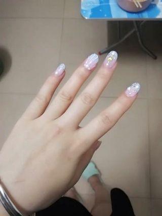 光療美甲 手工定做甲片少女粉藍 水晶立體貝殼甲💰1000