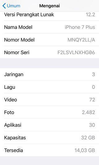Iphone 7plus 32gb gold mulus, normal n fullset