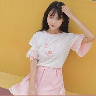 Two piece top and skirt cute rabbit design pink and white