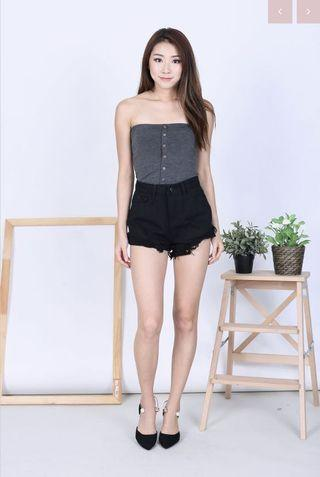 Carrislabelle Button Knit Tube Top