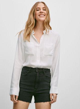 Aritzia White Button Up Blouse #SwapCA