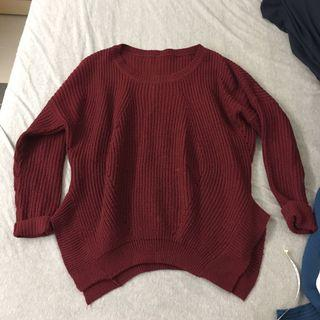 紅色針織毛衣