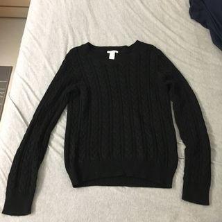 H&M 黑色針織毛衣(S)
