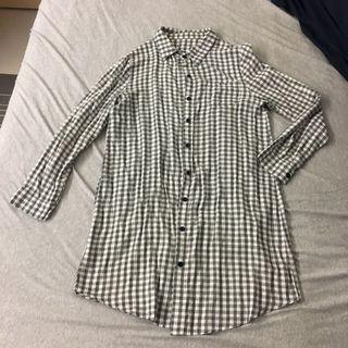 灰色格紋長版襯衫