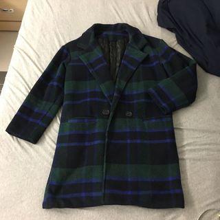 藍綠格紋毛呢大衣