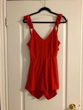 NEW! Boohoo red romper size XS
