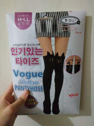 🚚 韓國 鑫五洲 貓咪造型(黑+膚色)的絲襪(褲襪) vogue pattern pantyhose   #轉轉香噴噴