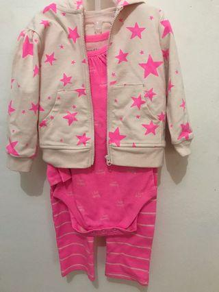 Baju bayi set warna Neon Pink (12-18month) Brand Children's Place