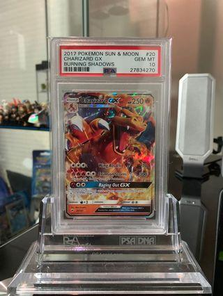 Pokemon Burning Shadows PSA 10 Charizard GX