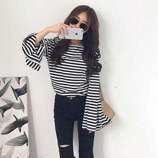 bell sleeve stripes top