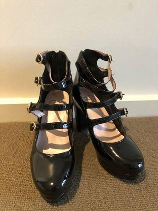 Japan honey cinnamon straps platform shoes