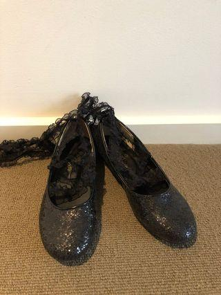 Japan BonBon ballerina style straps on black glitter flats