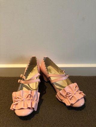 Pink Lolita style Frill ribbon straps shoes
