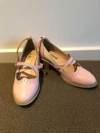 Oxford style Lolita pink shoes