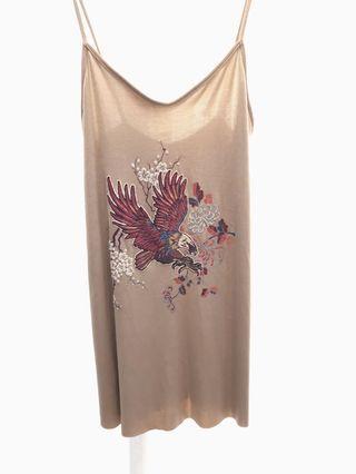 ZARA gold embroidered mini slip dress