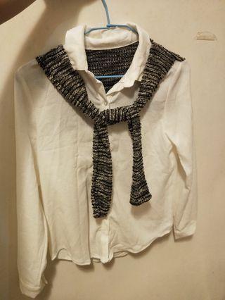 🚚 (出清)假兩件式披肩造型襯衫