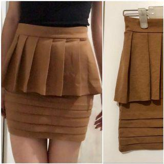Brown bodycon mini Skirt / rok peplum cokelat