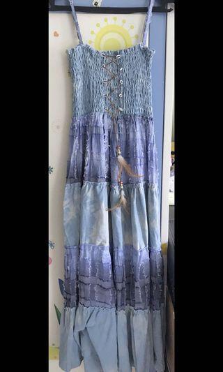 藍色民族風 one piece 長裙