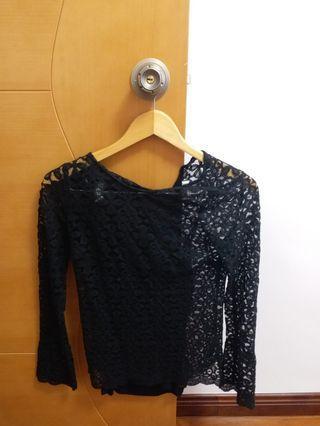 黑色喱士 Black lace top
