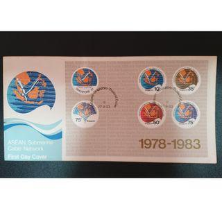 """1983 Singapore First Day Cover - """"ASEAN Submarine Cable Network - Malaysia: Singapore: Thailand Cable"""""""