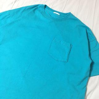 GU 男裝超寬版五分袖 水藍色