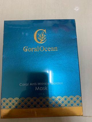 🚚 海洋奇蹟 珊瑚抗鄒黃金面膜一盒三入