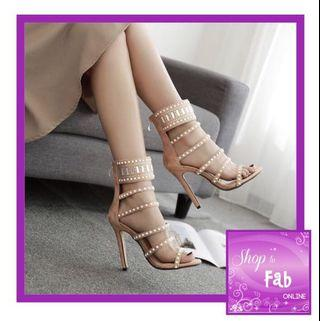 Apricot Studded Multi Straps Heels Sandals
