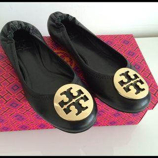 Authentic Tory Burch Minnie travel ballet flat shoes black gold 38 39 40