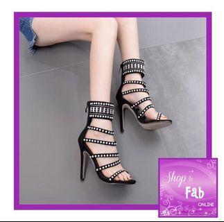 Black Studded Multi Strap Heels Sandals
