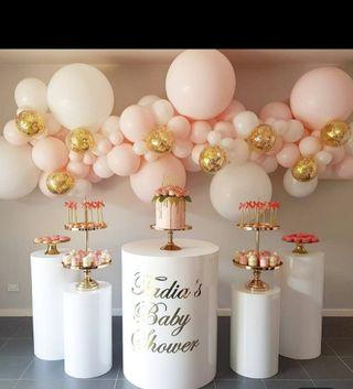 Party backdrop and tables