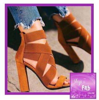 Brown Multi Strap Chunky Heels Sandals