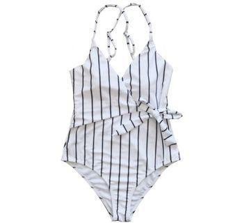 Korean stripe monokini swimsuit