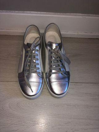 Chanel silver/white sneakers