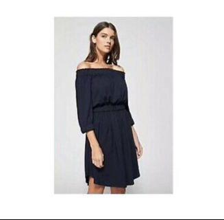 Witchery Navy off the Shoulder stretch pleated dress 16