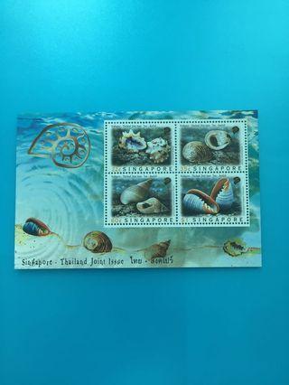 外國郵票—新加坡貝殻