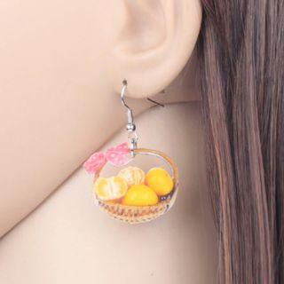 Orange Basket Earrings
