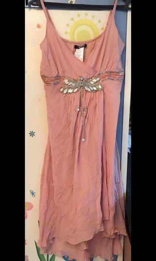 法國品牌粉紅色低胸斯文晚裝裙