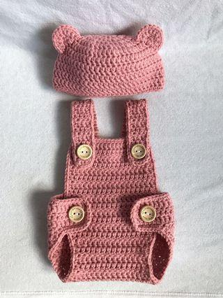 Crochet Baby Bear Hat and Romper Set