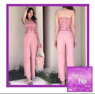 Pink Smocked Tube Crop Top Pants Terno
