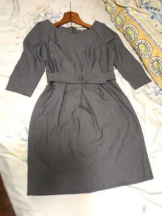 日系氣質洋裝/灰