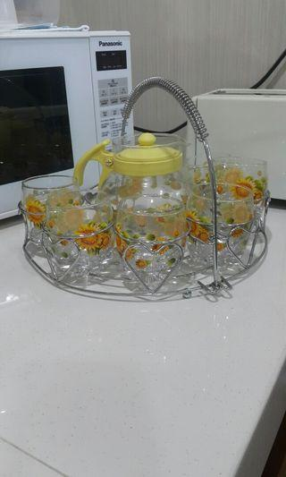 Tea set glass with stainless steel rack