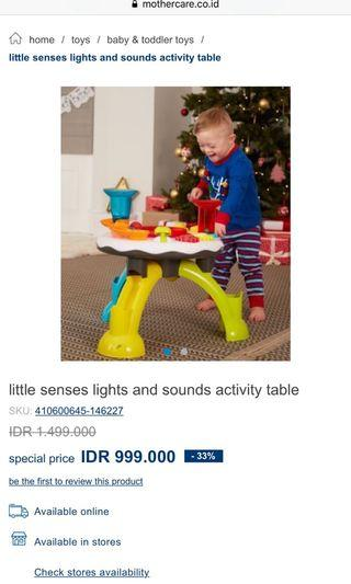 Mothercare ELC activity table