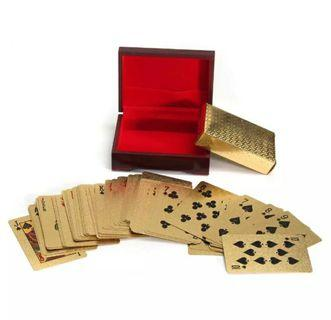 Gold plated cards with wooden case