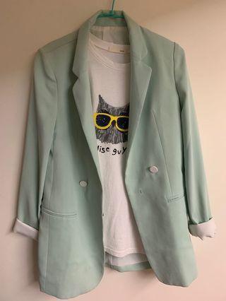 🚚 限時特價 正韓高單蘋果綠西裝外套