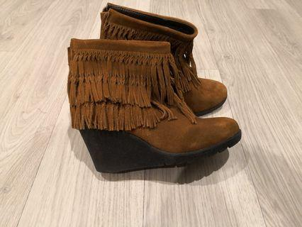 Size 36 seude ankle wedge boots