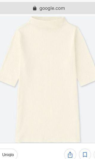 🚚 Uniqlo Ribbed High Neck Half Sleeve T shirt