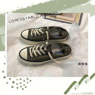 💓預購 橄欖綠懶人帆布鞋