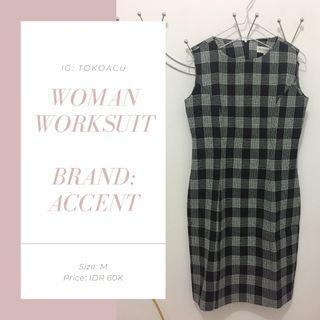 Baju kerja wanita / dress cewe terusan monokrom murah bagus