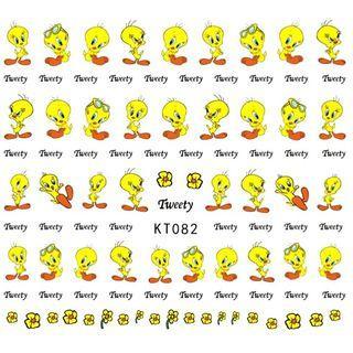 BNIP Looney Tunes Tweety Bird cute Nail stickers nail art nail decal